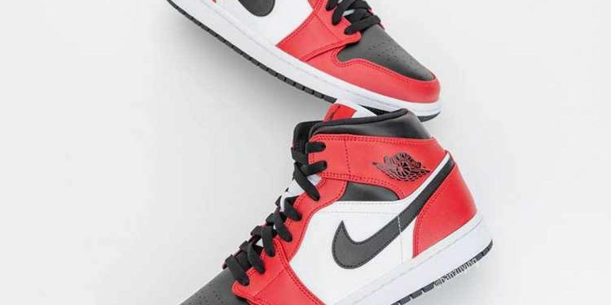 "Air Jordan 1 Mid ""Chicago Black Toe"" 554724-069 2021 Cheap For Sale"