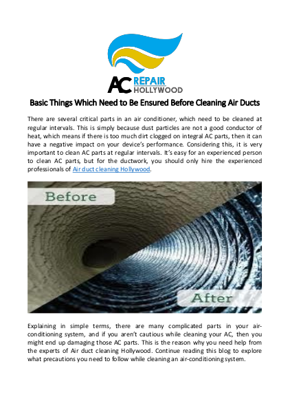 Basic Things Which Need to Be Ensured Before Cleaning Air Ducts